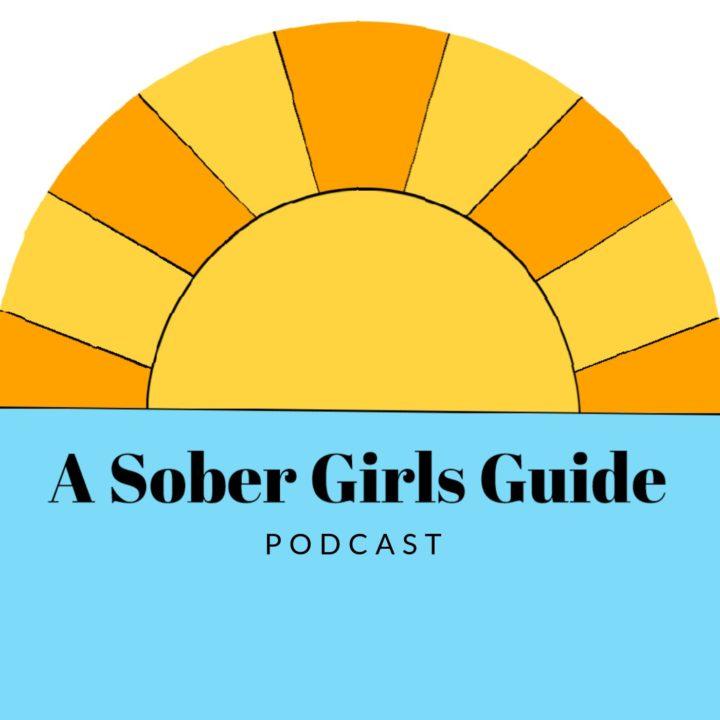 """A Sober Girls Guide Podcast"" Cartoon of sunset over ocean"